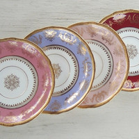Coalport Mismatched Plates, Set of 4, English China, Tea Party, Instant Wall Decor, Bridesmaid Luncheon, Vintage Replacement China