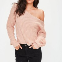 Missguided - Nude Off Shoulder Cropped Knitted Sweater