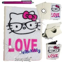 KITTY BLING iPad Air NERD Faux Pearl, Crystal Rhinestone Rotating Faux Leather Case with Built In Stand & Stylus