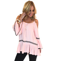 You're My Muse Off Shoulder Blouse In Pink