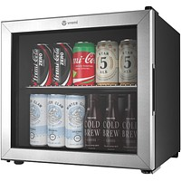 Vremi 1.7 Cubic Feet Beverage Cooler - Double Layered Glass Door Mini Fridge for Can Drinks - with Adjustable Shelves and User Friendly Temperature Knob - Modern Cooling Machine for Home Office Dorm 1.7 cu ft