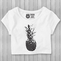 White Crop Top With Black Pineapple - Pineapple Crop Top