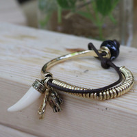 The Macedonia Gold Elephant Tusk Charm Hinge Bracelet