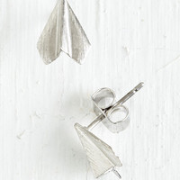 Minimal Plane and Simple Earrings in Silver by ModCloth