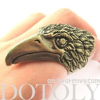 Large Adjustable Eagle Hawk Animal Ring With Feather Details in Brass