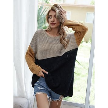 Pocket Front Colorblock Slouchy Sweater