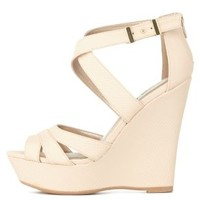 Nude Strappy Cut-Out Platform Wedges by Charlotte Russe