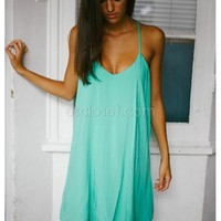 Grace- This bohemian green shift dress makes for the perfect summer