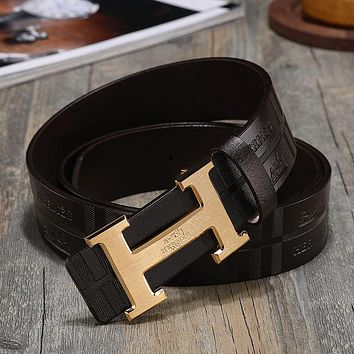 Hermès classic H buckle embossed belt fashion men's and women's casual business belt