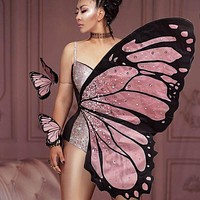 Bling Pink Butterfly Wings Rhinestones Bodysuit Dance Costume Women Party Show Performance Stage Wear Halloween Cosplay Costume (One Size)
