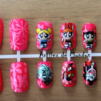 Handpainted Fake/False The Powerpuff Girls Nails