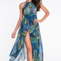 Navy Blue Tropical Tie-Waist High-Slit Maxi Dress
