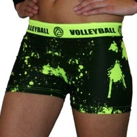 """SV Forza Women's Volleyball Printed Compression Shorts, 2.5"""" Extra Small (Neon Yellow Print)"""