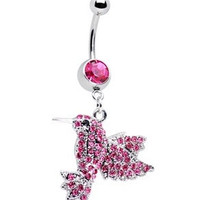 New Charming Dangle Crystal Navel Belly Ring Bling Barbell Button Ring Piercing Body Jewelry = 4804935172