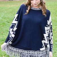 Do Whatever It Takes Aztec Print Poncho