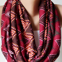 Infinity Scarf Loop Scarf Circle Scarf Cowl Scarf Brown and Red chevron jersey cowl