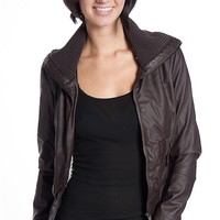 Miss Posh Shearling Lined Ribbed Collar Faux Leather Moto Jacket - Brown