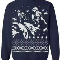 SALE Astronaut Reindeer Outer Space Ugly Christmas Sweater Flex Fleece Pullover Classic Sweatshirt - S M L XL and XXL (3 Color Options)
