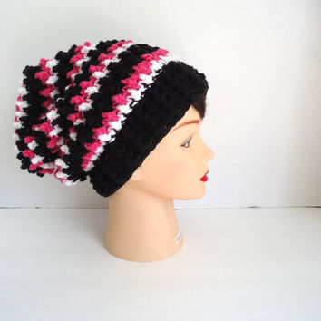 Slouchy Crochet Hat With Stripes - Crochet Womens Hat - Fall Hat - Winter Hat - Christmas Gift - Ready To Ship - Hats