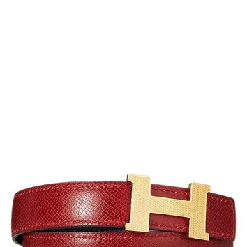 NEW HERMÈS WOMENS H GUILLOCHEE BELT BUCKLE & REVERSIBLE LEATHER STRAP - HERMÈS