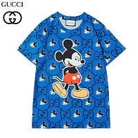 GUCCI & Disney Summer New Fashion More Letter Mouse Print Women Men Top T-Shirt Blue