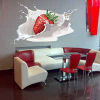 Full color Strawberries sticker, Strawberries Decal, wall art decal gc309-2