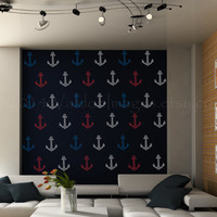 Red, white and blue anchor's wall decal, wall sticker, nautical decal, wall graphic , vinyl decal, sticker, decal, vinyl graphic wall decal