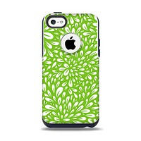 The Light Green & White Floral Sprout Apple iPhone 5c Otterbox Commuter Case Skin Set