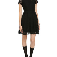 Black Lace White Collar Dress