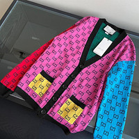 GG Double G Knit Cardigan Women's Colorblock Printed Loose Jacket Top
