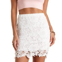 Floral Lace Pencil Skirt by Charlotte Russe