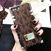 MK Michael Kors New fashion more letter protective cover phone case Coffee