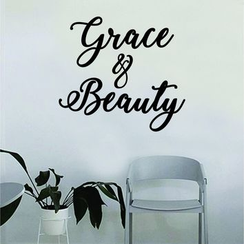 Grace and Beauty Quote Beautiful Design Decal Sticker Wall Vinyl Decor Art Make Up Cosmetics Beauty Salon Funny Girls Eyelashes