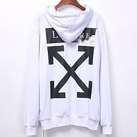 Off White New fashion letter arrow print couple hooded long sleeve top sweater White