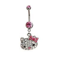 IPINK Pretty Cute Pink Hello Kitty Head Face Dangle Belly Button Navel Ring 14 gauge