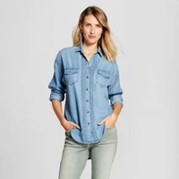 Women's Chambray Button Down with Crochet Trim - Knox Rose™ Chambray