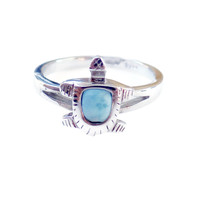 .925 Sterling Silver Dainty Larimar Turtle Ring