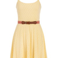 Eyelet Dress With Multicolor Belt - Custard