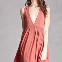 Plunging Embroidered Dress