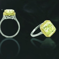 3.93ct Radiant Fancy Yellow Diamond Engagement Ring 18kt GIA CERTIFIED JEWELFORME BLUE