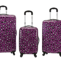 3Pc Purple Leopard Polycarbonate/Abs Upright Luggage Set