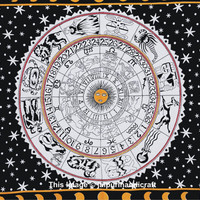 Queen White Horoscope Tapestry, Zodiac Tapestries, Bohemian Hippie Hippy Tapestries, Astrology Tapestries, Celestial Stars Tapestry, Decor