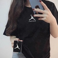 "Hot Sale ""Jordan"" Popular Women Men Simple Logo Print Short Sleeve Round Collar T-Shirt Top Black I12516-1"