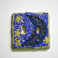 Etsy Mosaic Switch Plate Cover: Moon and Stars - 2 Toggle - Double Switch Plate - Crescent Moon, Hippie Art, Bohemian Decor, Mosaic Wall Art