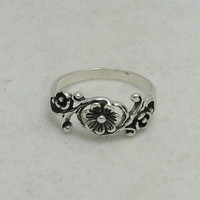 R000084 Stylish STERLING SILVER Ring Solid 925 Rose Flower