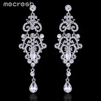 Mecresh Gorgeous Chandelier Crystal Bridal Long Drop Earrings Silver Color Big Party Hanging Wedding Jewelry Hot Selling EH189