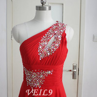 New Red Chiffon Bridesmaid Dress Long Hand-Beading Sequin Brides maid dress One Shoulder Prom Party Dress Custom Turquoise Bridesmaid dress