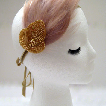The Pauline - gold and champagne feather hair piece, art deco feather headpiece, champagne headpiece, champagne Gatsby headband