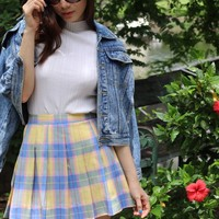 Made To Order - Blue Yellow and Pink Tartan Skirt