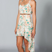 FULL TILT Belted Chiffon Hi Low Dress